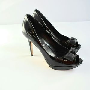 WHBM Patent Leather Peep Toe Heels with Bows